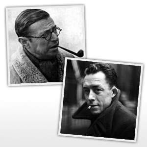 Sartre (dalt-esquerra) i Camus (sota-dreta)